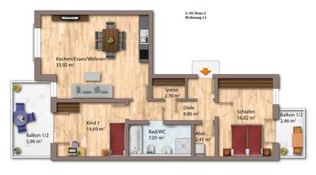 Attraktive 3-Zimmer-Energiesparwohnung (KfW 40 plus)  2. OG Whg. 11 in Deggendorf