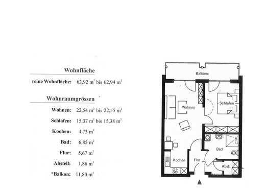 Schöne 2 Zimmer- Wohnung mit Balkon in der Wohnresidenz Salinenparc