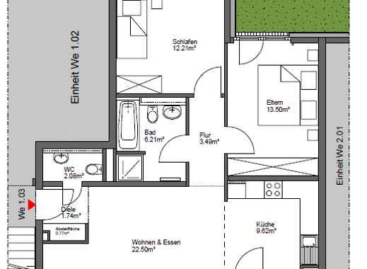 Attraktive 3-Raum Erdgeschosswohnung mit offener Küche und Balkon