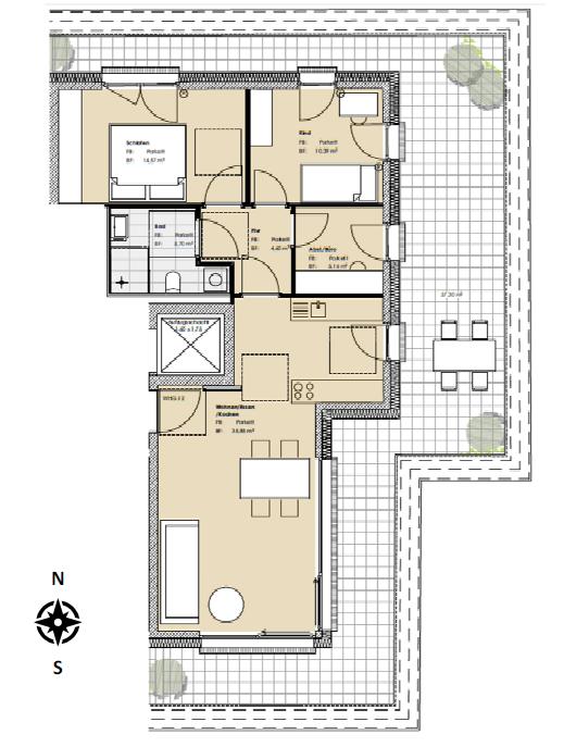Erstbezug:  schöne 3,5-Zimmer-Penthouse-Wohnung mit großer Dachterrassein in Pasing, München in Pasing (München)