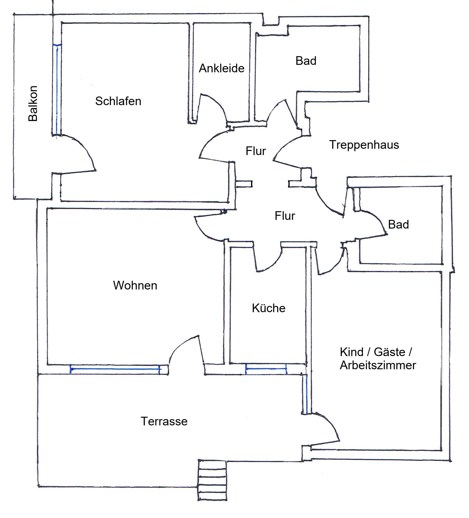 Großzügige 3,5-Zimmer-Hochparterre-Wohnung mit Terrasse und Einbauküche in Wolfratshausen in