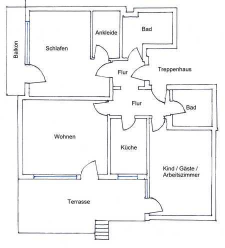 Großzügige 3,5-Zimmer-Hochparterre-Wohnung mit Terrasse und Einbauküche in Wolfratshausen in Wolfratshausen