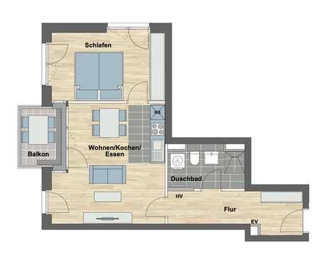 Erstbezug: schöne 2-Zimmer-Wohnung mit Einbauküche und Balkon in Allach, München in Allach (München)
