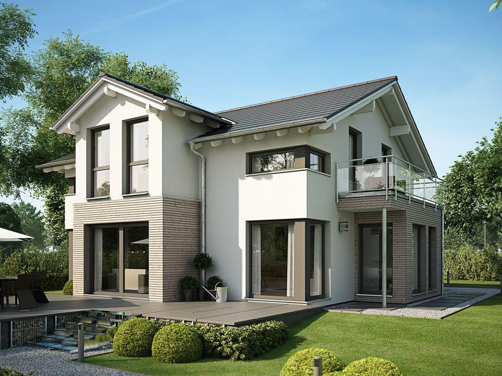 evolution 154 v5 traumhaftes einfamilienhaus mit satteldach querhaus und erker mit balkon. Black Bedroom Furniture Sets. Home Design Ideas