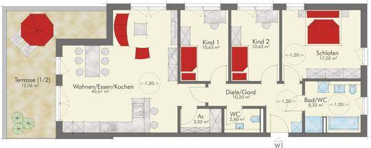 Grundriss Wohnung 1 EG
