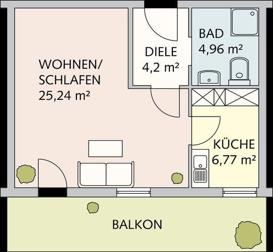 Beispiel 1-Raum-Wohnung