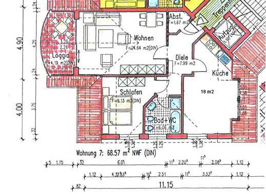 Komfort-Dachgeschosswohnung, 2-Zimmer, Fahrstuhl, Terrasse