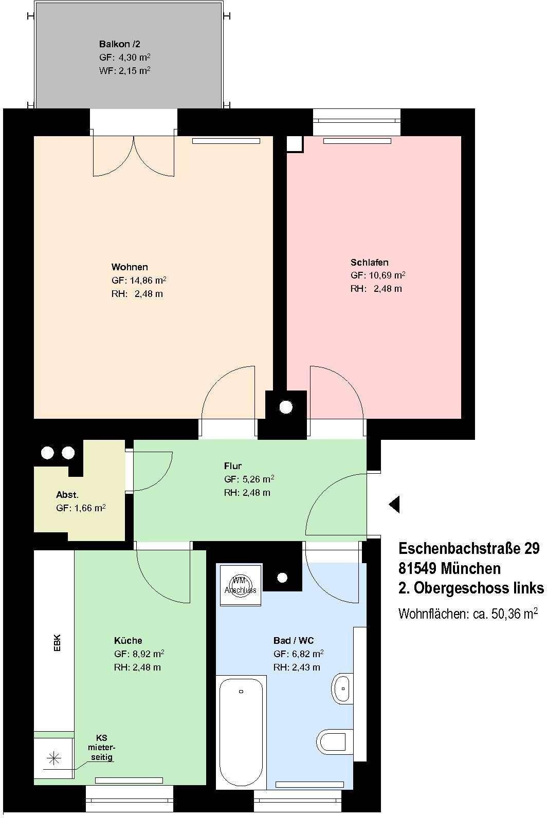 *Giesing * 2 Zimmer mit Wohnküche * Bad mit Wanne und Fenster * Balkon*