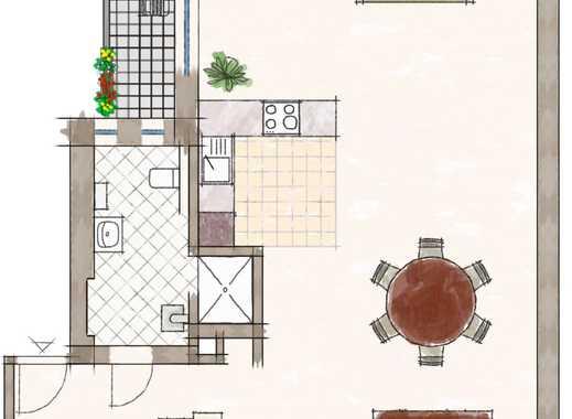 Loftwohnung 3-ZW ca.105 qm, komplett renoviert, offene Küche, Balkon, Laminat