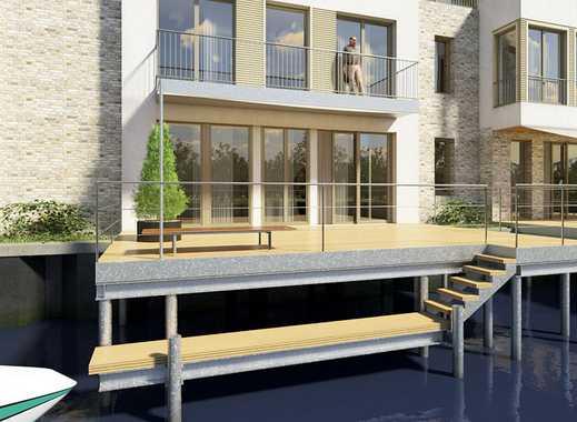 Familienglück! Steg-Doppelhaushälfte mit Bootsanlegestelle, Terrasse, Studio und Dachterrasse