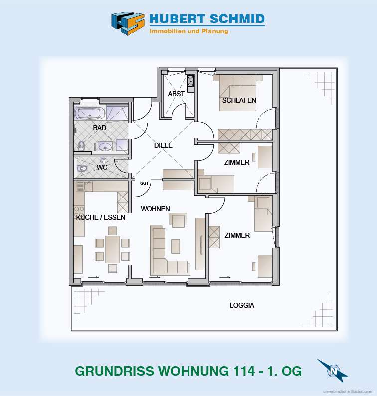 Grundriss Whg. 114