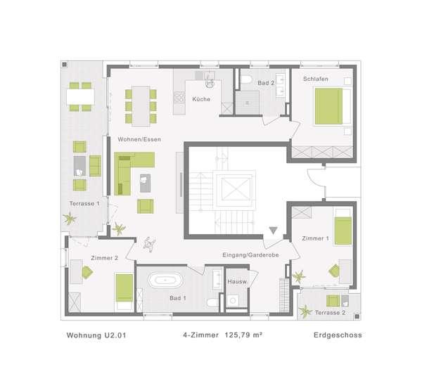 125 m² mit eigenem Gartenanteil von ca. 415 m²