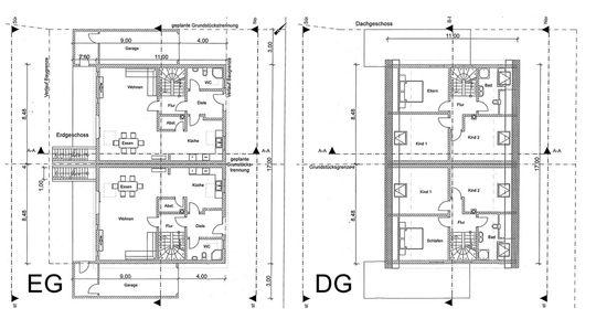 Grundrisse Doppelhaus EG DG Ba