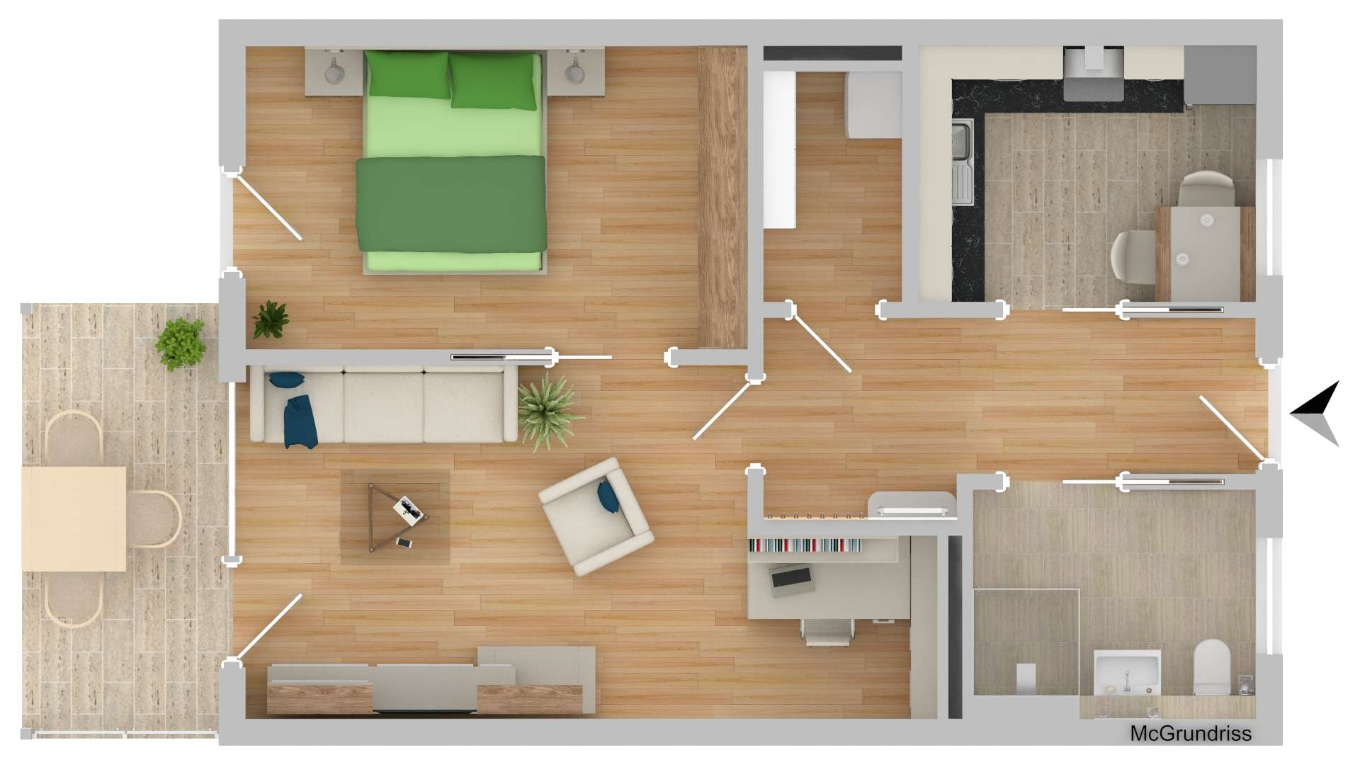 NEUBAU!!!! Betreutes Wohnen 2-Zimmer mit Terrasse (B15)