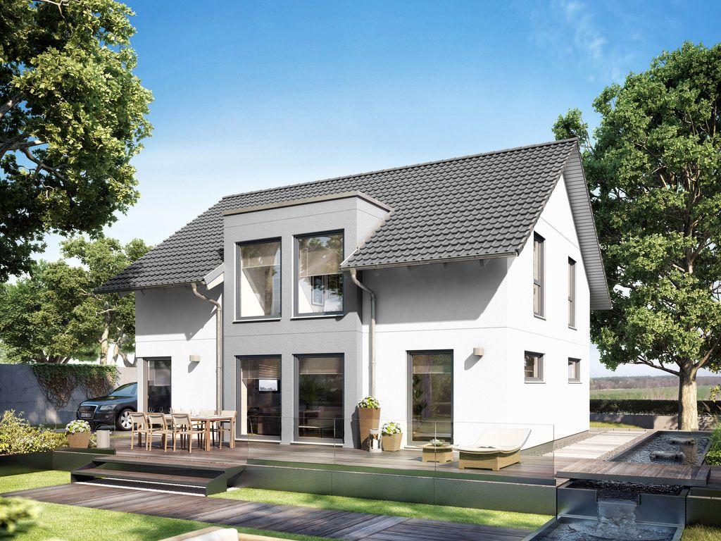 modernes satteldachhaus mit flachdachgaube. Black Bedroom Furniture Sets. Home Design Ideas