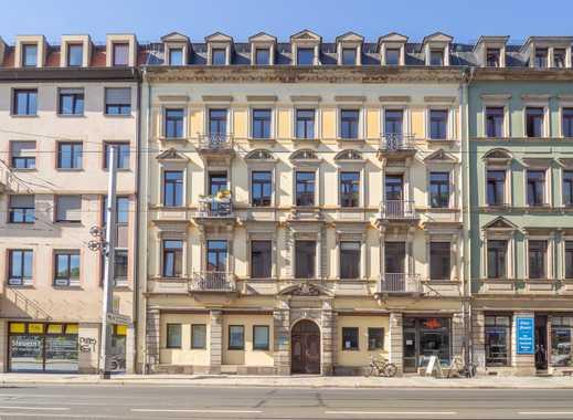 **Wohnen in der Dresdner-Neustadt** 3-Zimmer Altbau-Wohnung mit französischem Balkon