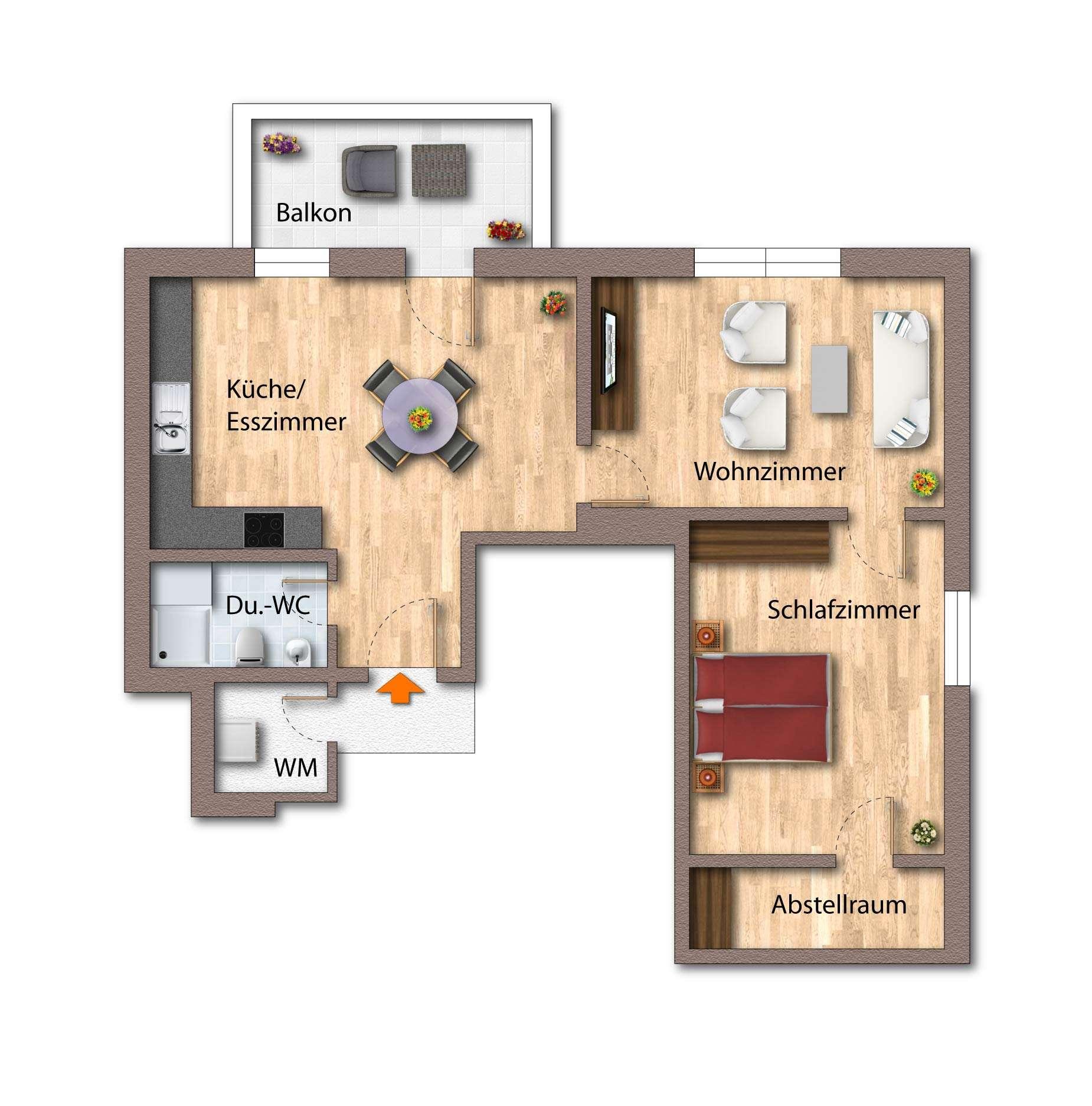 Geräumige 2-Zimmerwohnung im Zentrum von Deggendorf in
