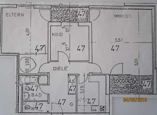 Sehr schöne 3-Zimmer-EG-Wohnung mit Balkon und EBK, provisionsfrei, von privat