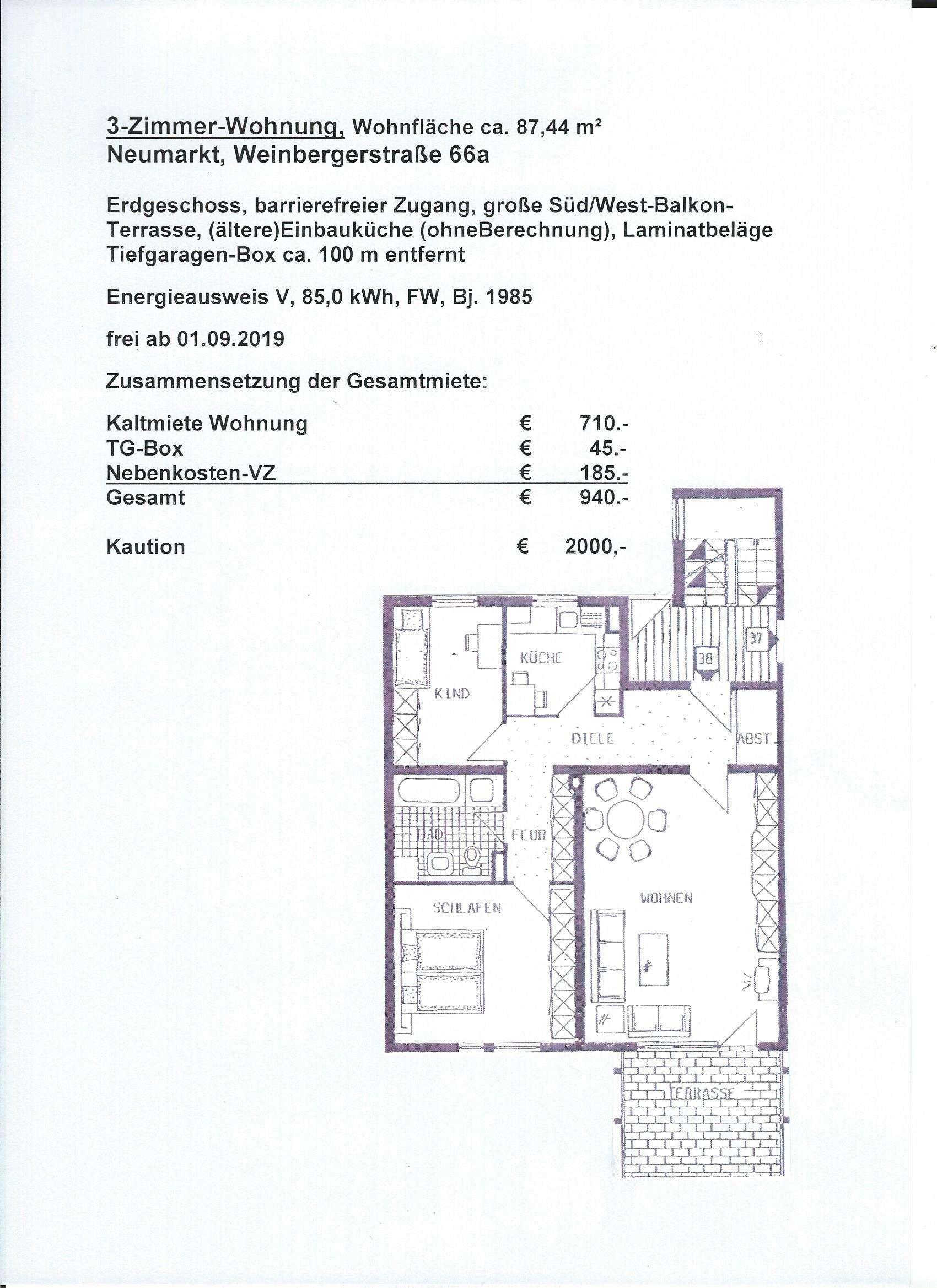 Gepflegte 3-Zimmer-EG-Wohnung mit Balkon in Neumarkt in der Oberpfalz in Neumarkt in der Oberpfalz (Neumarkt in der Oberpfalz)