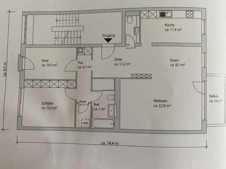 Hochwertig, stilvolle Wohnung mit drei Zimmern, Balkon und Einbauküche in Lehel, München in Lehel (München)