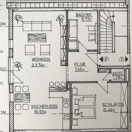 Schöne, geräumige zwei Zimmer Wohnung mit Küche in Mering in Mering