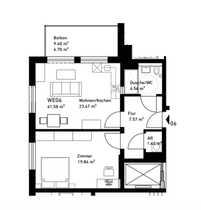 Kleine 2-Zimmerwohnung mit großem Balkon