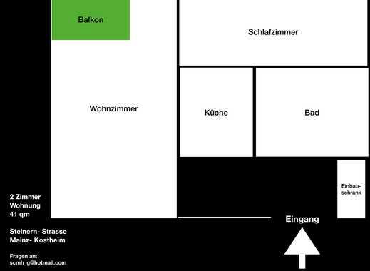 Erstbezug nach Kern Sanierung: stilvolle 2-Zimmer-Wohnung mit EBK und Balkon in Mainz-Kostheim