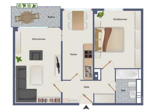 Komfortabel geschnittene 2 Raum Wohnung mit Balkon und Weitblick