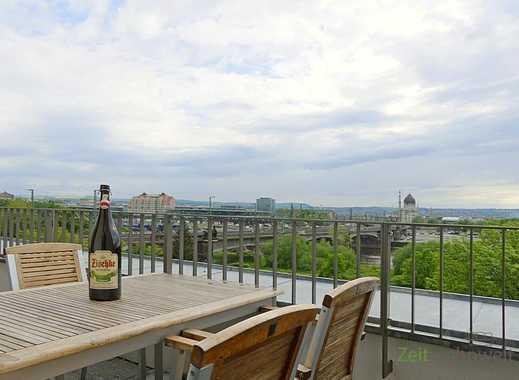 Dresden: Leipziger Vorstadt, neu möblierte Maissonette-Whg m. Aufzug, traumhafter Blick auf Elbe ...