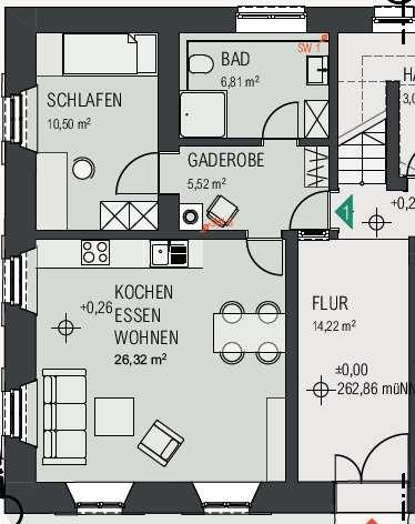 2 Zimmer EG links Erstbezug nach Kernsanierug EBK (Siemens), Fußbodenheizung, Garten optional in