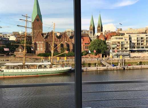 Modernes Studio für bis zu 2 Personen + 2 Kinder am Weserufer mit Panoramablick auf die historisc...