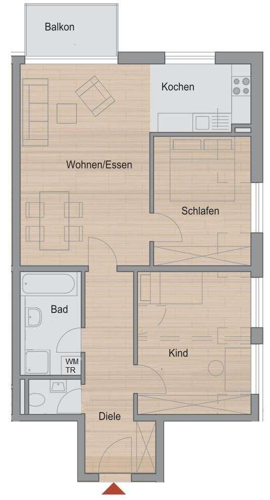 Nette 3-Zimmer-Wohnung im Herzen Markt Schwabens mit Balkon ins Grüne in