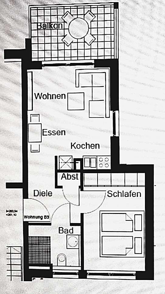 Sonnige zwei Zimmer Wohnung in Würzburg, Lengfeld in