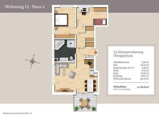 großzügige 3,5.-Zi.-Wohnung im Obergeschoss mit Süd-West-Ausrichtung