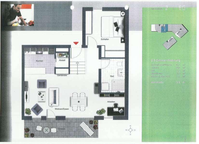 Exclusive 2 1/2 Zimmer Wohnung