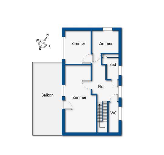 Grundrissskizze Obergeschoss