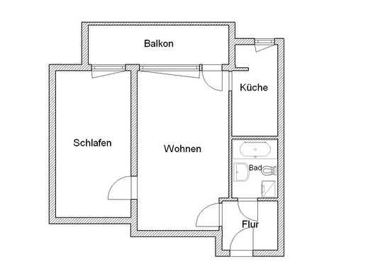2-Zimmer-Wohnung mit Balkon und kleiner separater Küche ab 01.03.!