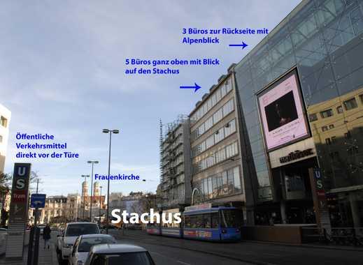 Einzelner Arbeitsplatz in 4er Büro, direkt am Stachus, Terrasse mit Bergblick