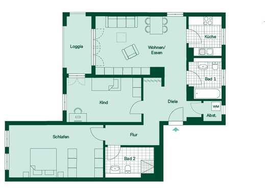 Reichlich Licht und Luft durch Südausrichtung in schicker 3-Zimmer-Eigentumswohnung