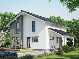 evolution 136 v6 modernes traumhaus mit satteldach querhaus und terrassen balkon. Black Bedroom Furniture Sets. Home Design Ideas