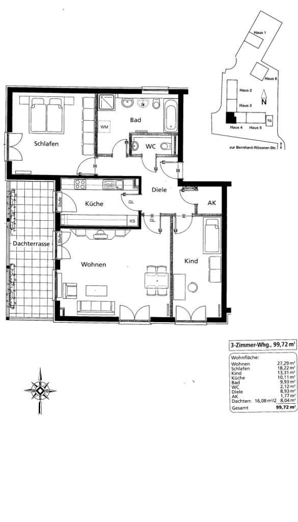 Große helle 3-Zimmer-S/W-Dachterrassen-Wohnung in Gröbenzell in