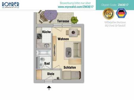 München-Neuhausen - Charmantes 1-Zimmerapp. mit Terrasse, Küche mit EBK, Bad/WC, Flur u. Kellerabt. in Neuhausen (München)