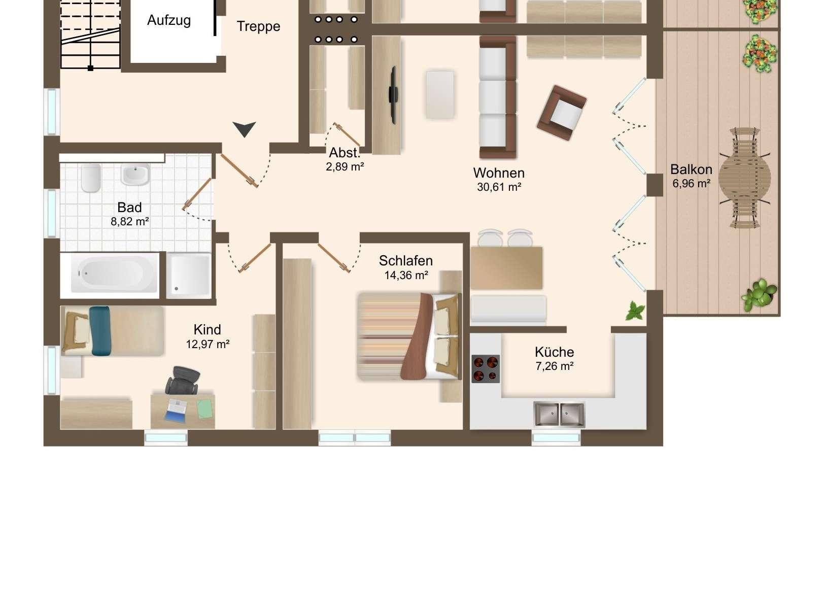 ERSTBEZUG - exklusive 3 ZKB OG Wohnung mit Balkon und TG -Stellplätzen in Bestlage von Beilngries in