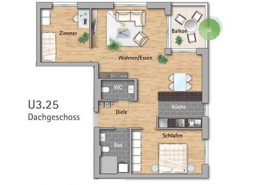 3-Zimmer-Dachgeschosswohnung im Betreuten Wohnen
