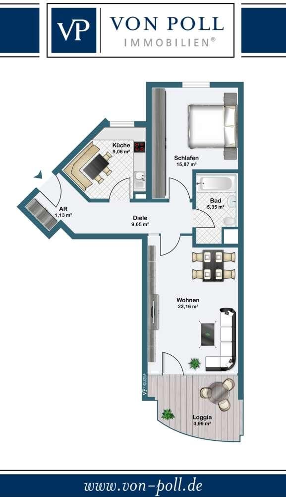 Helle 2-Zimmer-Wohnung am Marienbergpark! in