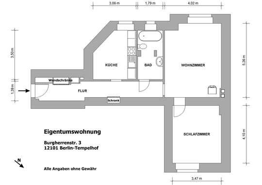 Hohe ruhige 2-Zim. Altbauwohnung nahe Tempelhofer Feld - Bild 22