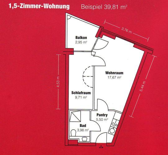Grundriss 1,5-Zimmer-Wohnung
