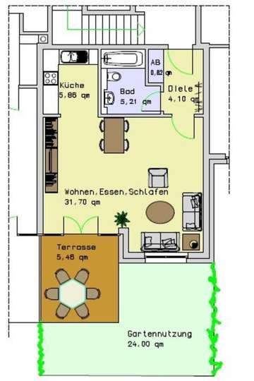 Wohnung 3, EG, 53,15m²<