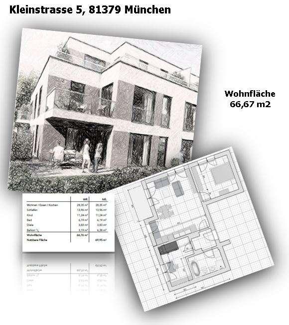 Erstbezug Obersendling, München, Kleinstrasse 5, excl. 3-Zimmer-Wohnung im OG I mit Balkon und Küche in Obersendling (München)
