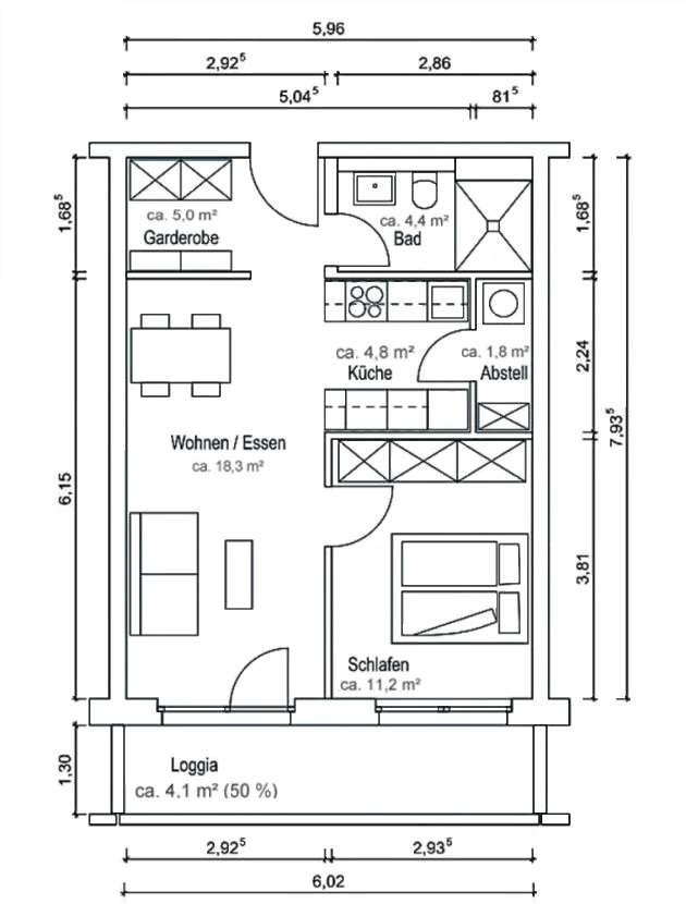 Erstbezug, komplett möblierte 2-Zimmer-Wohnung mit Balkon in Markt Schwaben in Markt Schwaben